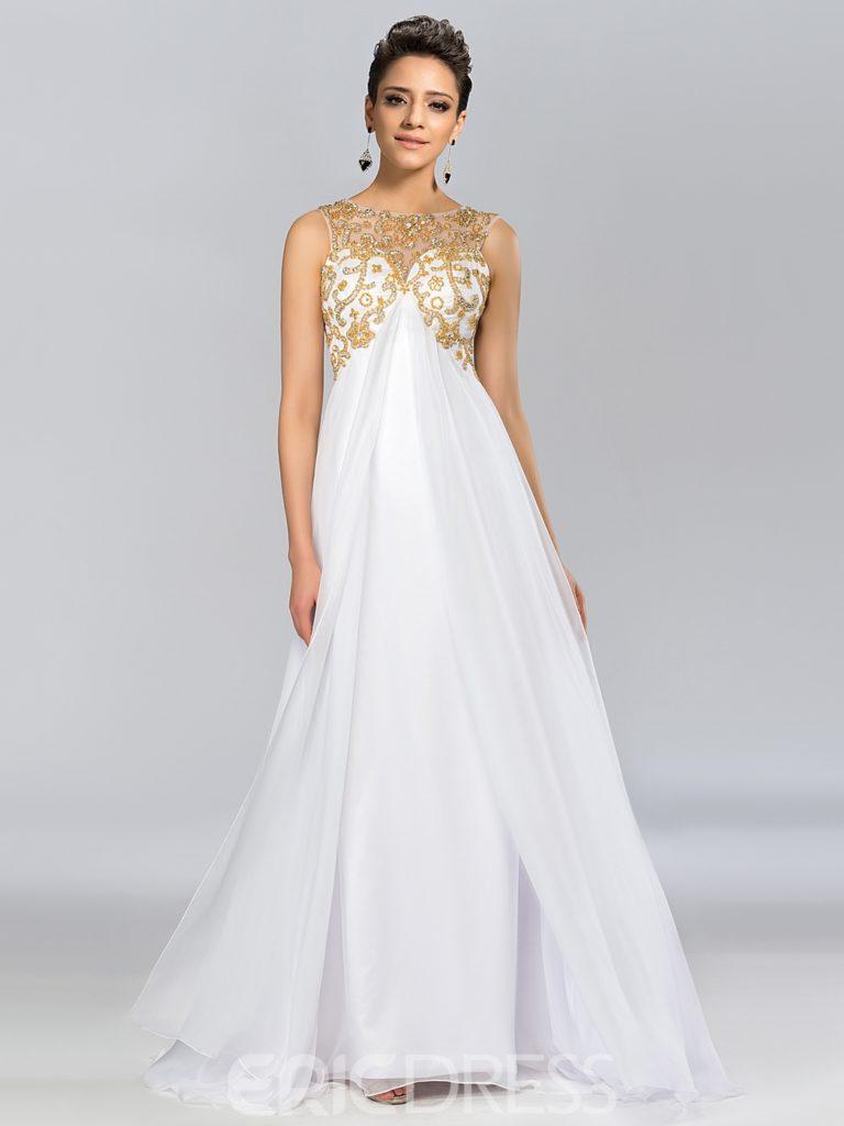 A-Line Scoop Criss-Cross Sequins Evening Dress