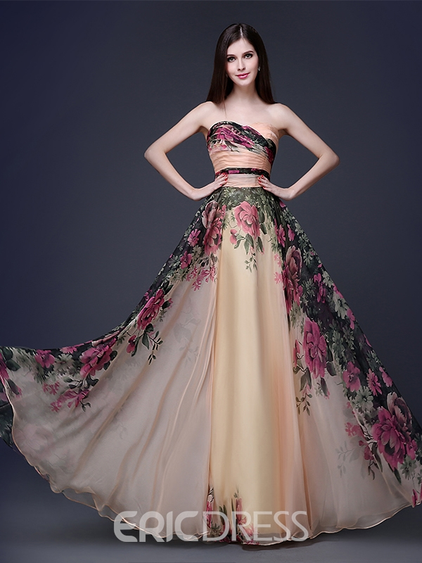 Strapless A-Line Floor-Length Printing Evening/Prom Dress