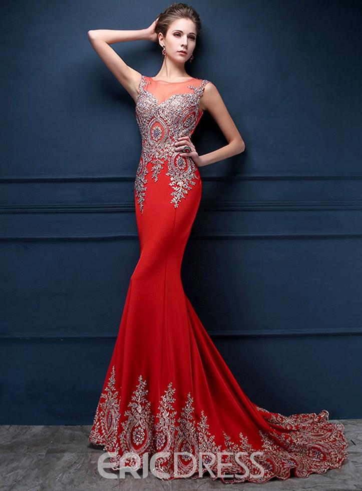 Jewel Neck Appliques Mermaid Evening Dress
