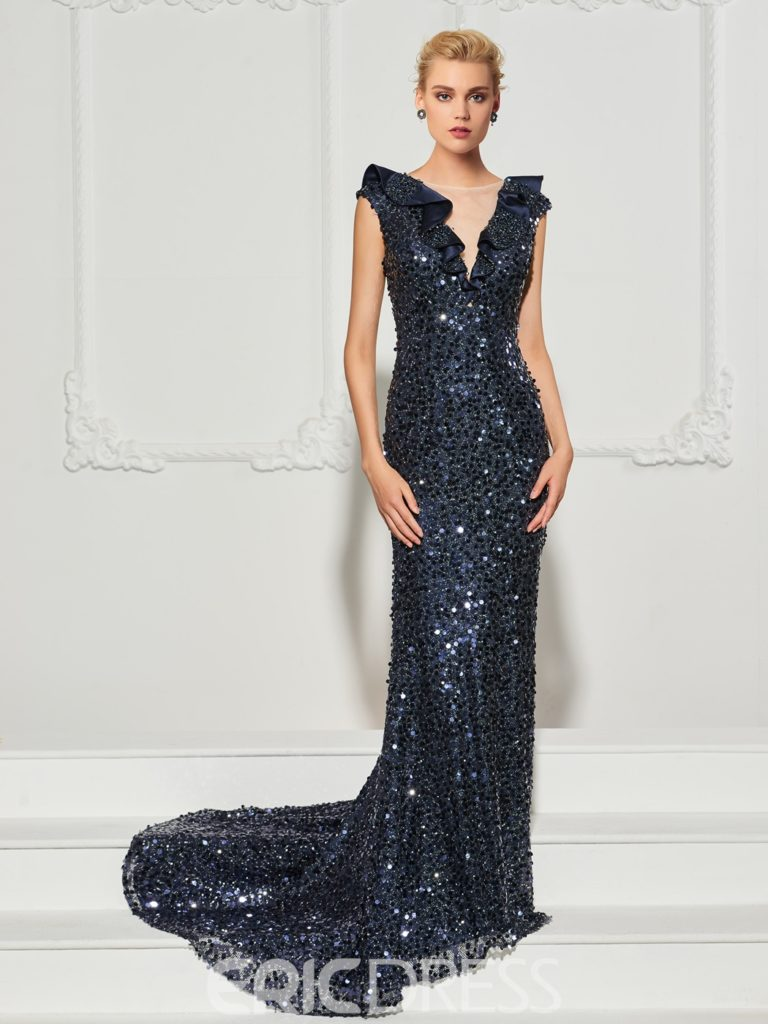 Cap Sleeve Ruffle Sequin Mermaid Evening Dress With Sweep Train