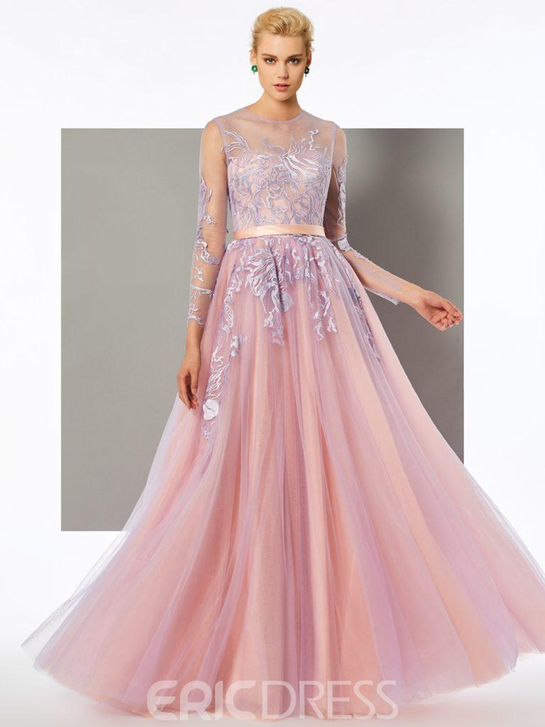 A Line Long Sleeve Lace Applique Evening Dress