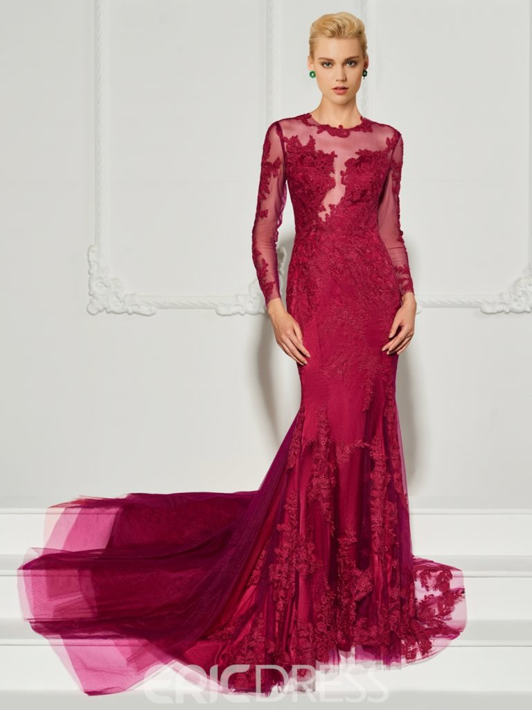 Long Sleeve Applique Mermaid Evening Dress With Court Train