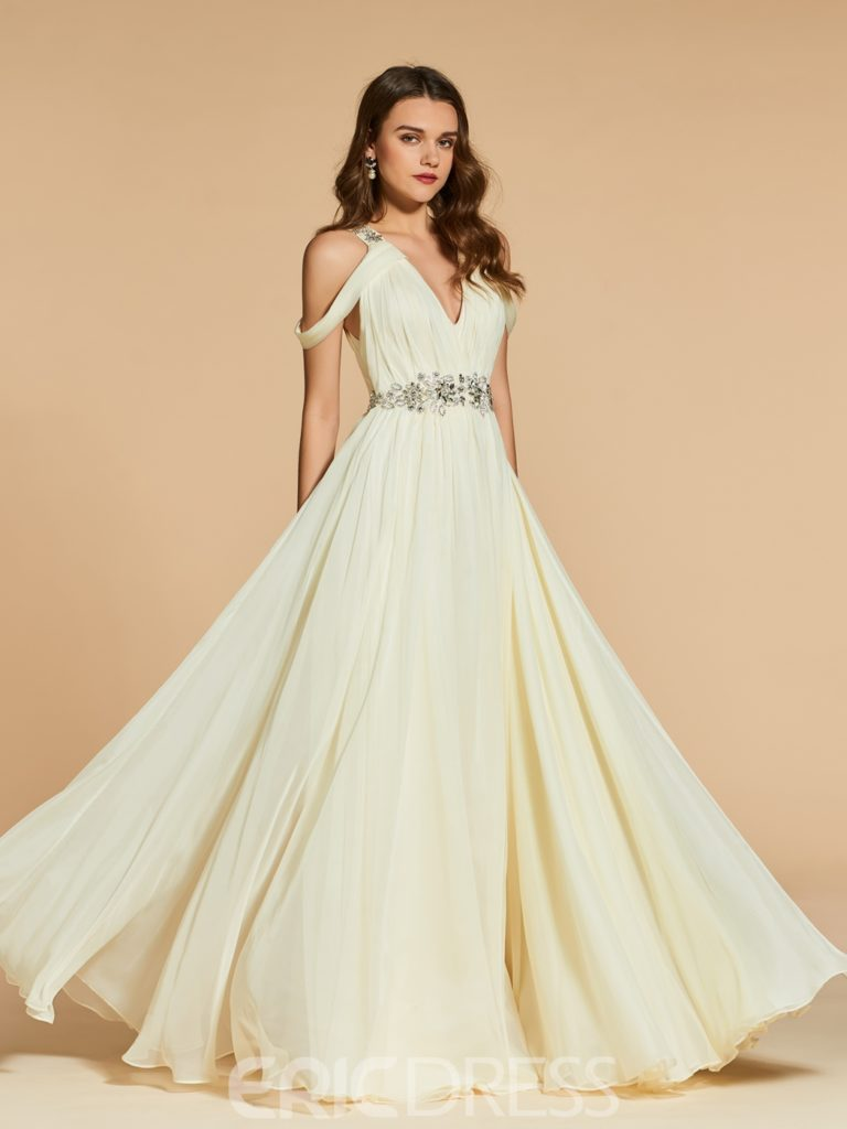 A Line Off The Shoulder Beaded Long Evening Dress
