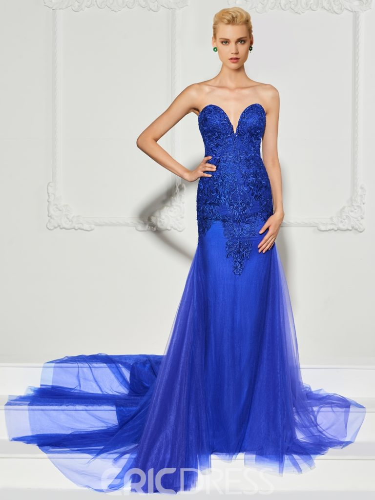 Sweetheart Applique Sweep Train Mermaid Evening Dress