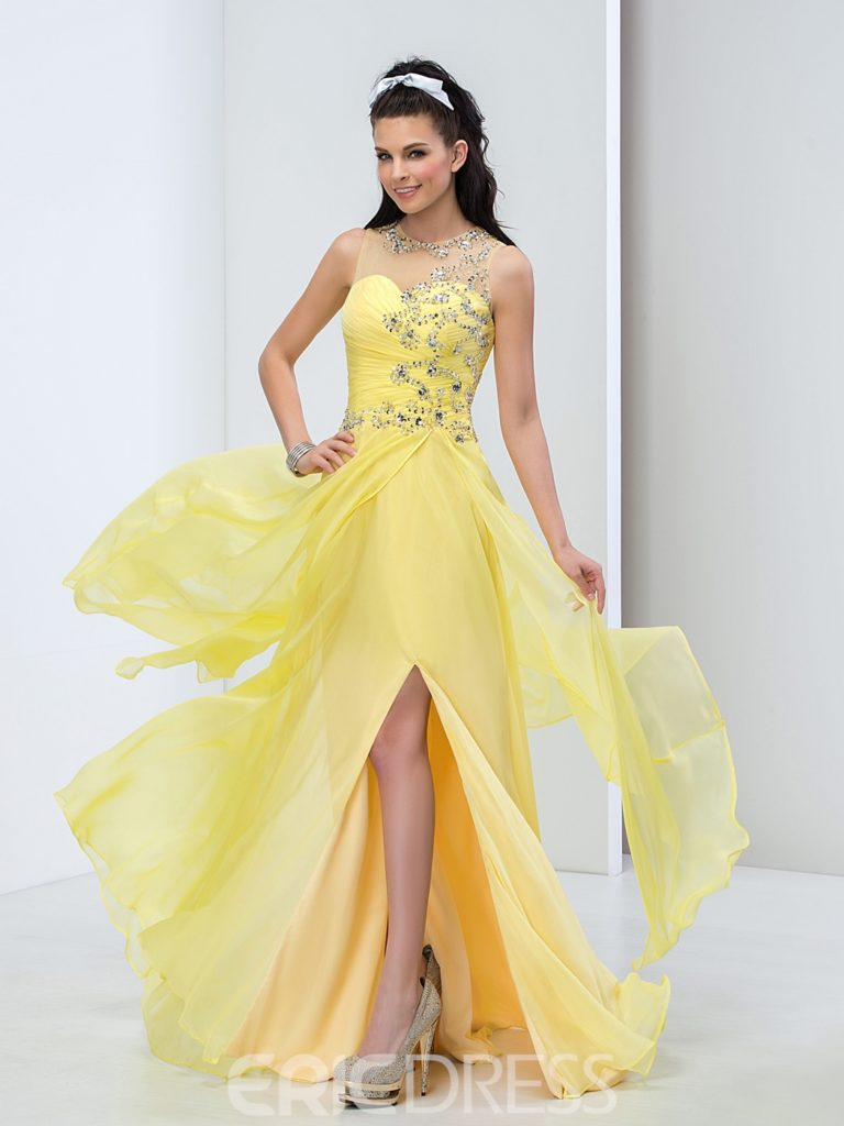 Beading Pleats Side-Split Long Prom Dress