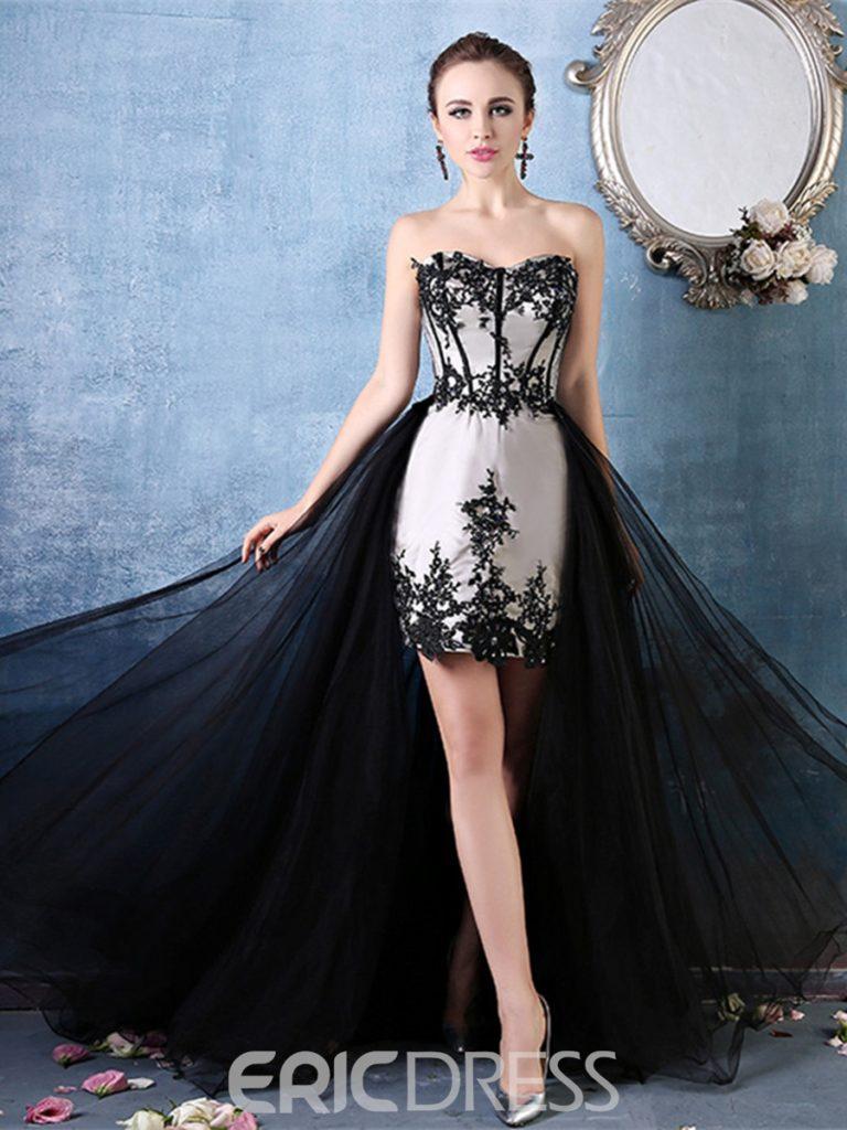 Sweetheart Appliques Lace Zipper Up Cocktail Dress