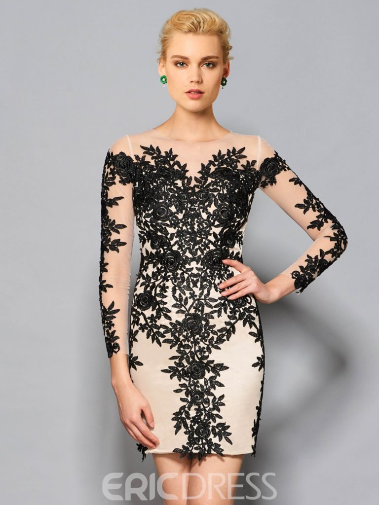 cc1f65bf8 Sheath Round Neck Long Sleeves Appliques Lace Knee-Length Cocktail Dress