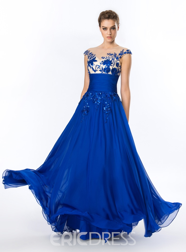 Charming A-line Appliques Floor-Length with Belt Evening/Prom Dress