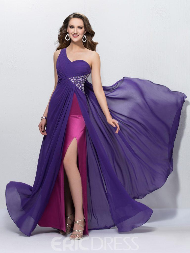 Charming A-Line One Shoulder Sequins Empire Prom Dress