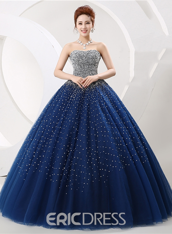 Luxurious Vintage Strapless Beading Lace-Up Ball Gown Dress