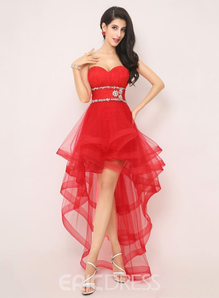 Attractive A-Line Detachable Asymmetric Length Cocktail Dress