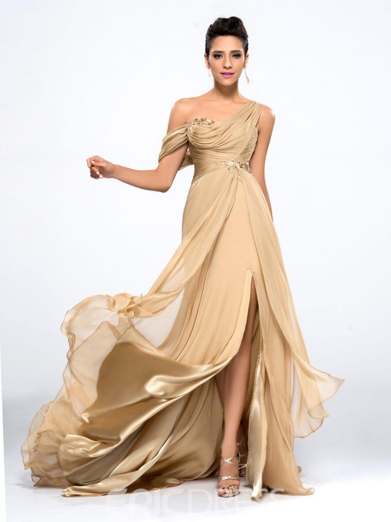 One-shoulder Sequins Evening Dress