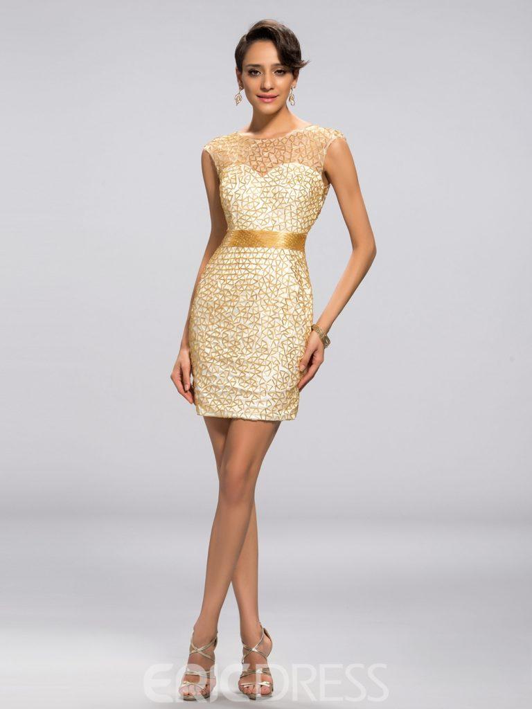 Luxurious Beading Sexy Back Column Short Cocktail Dress