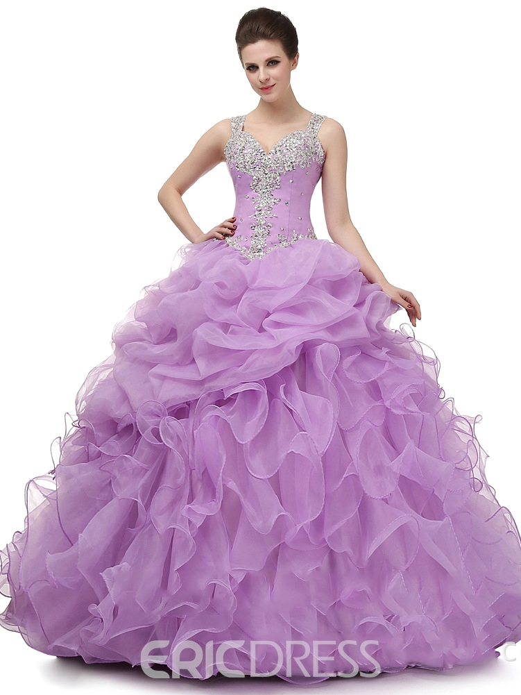 Straps Ball Gown Appliques Beading Floor-Length Quinceanera Dress