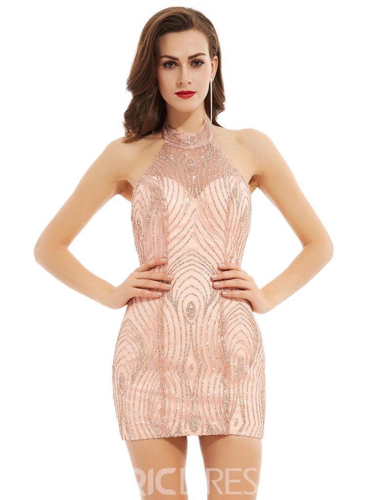 Halter Neck Backless Sequins Short Cocktail Dress