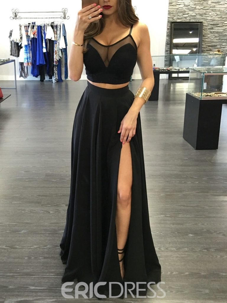 Sexy Two Pieces Straps Side Slit Front Floor Length Evening Dress