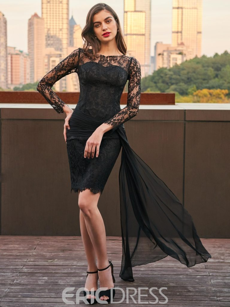 Sheath Long Sleeve Lace Black Cocktail Party Dress