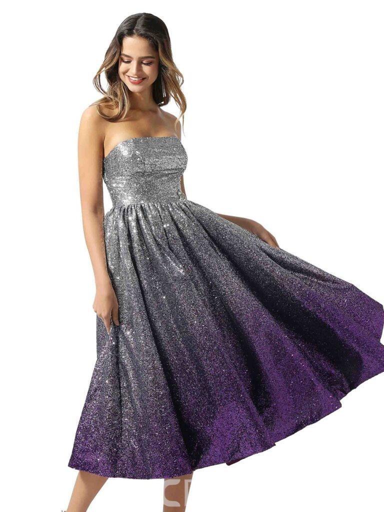 Tea-Length Strapless A-Line Sleeveless Prom Dress