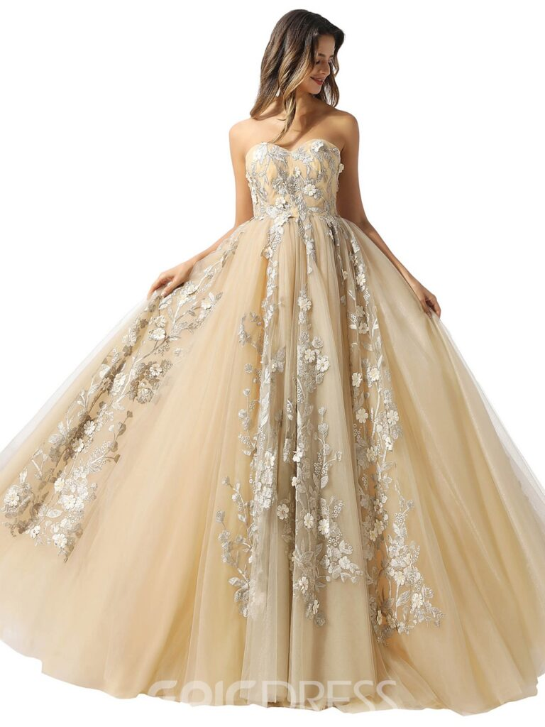 Ball Gown Sweetheart Appliques Sleeveless Prom Dress