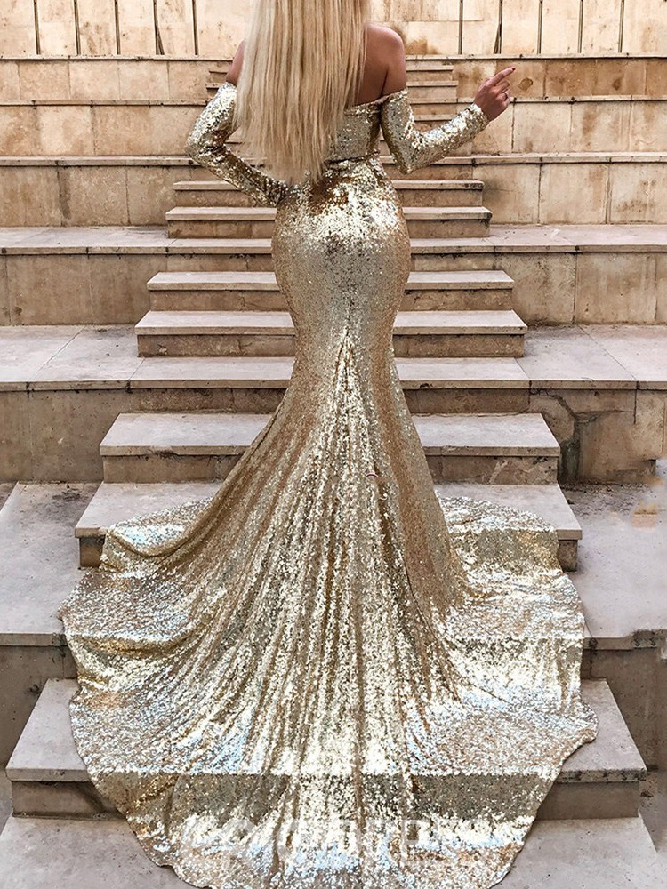 Split-Front Sequin Mermaid Evening Dress