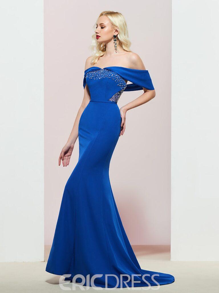 Off-The-Shoulder Mermaid Floor-Length Evening Dress
