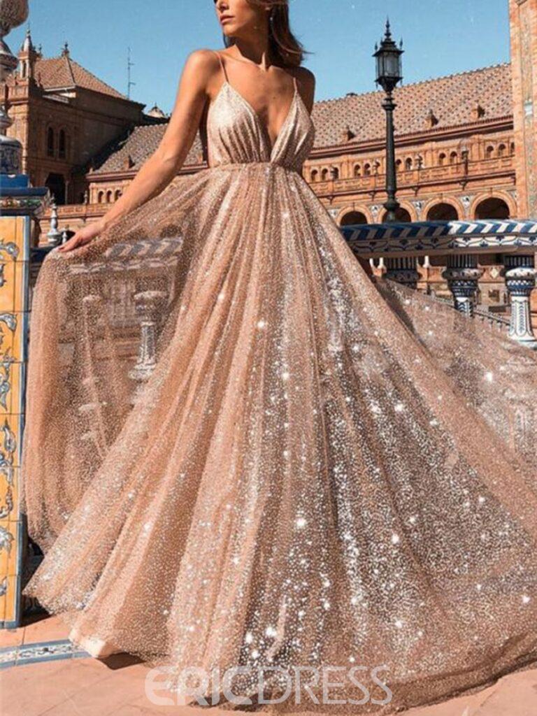 Spaghetti Straps Sequins A-Line Evening Dress