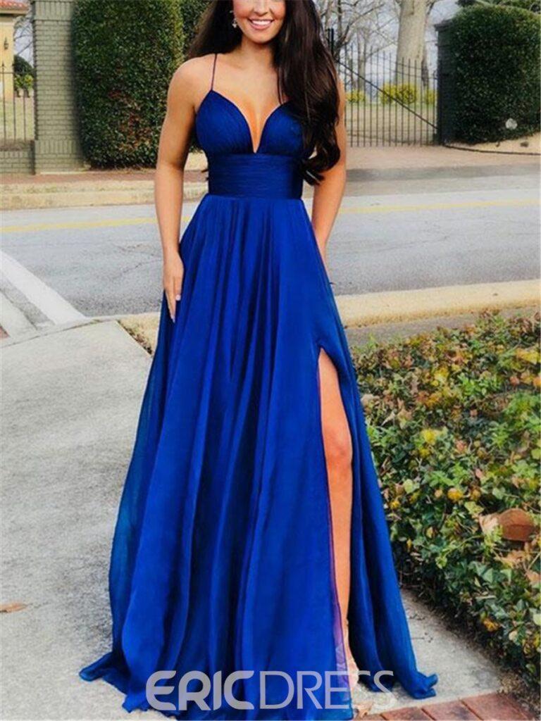 Spaghetti Straps Split-Front A-Line Prom Dress