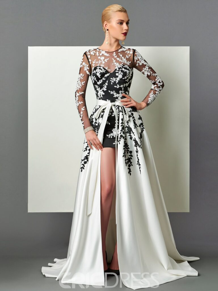 Long Sleeve Appliques Evening Dress With Train
