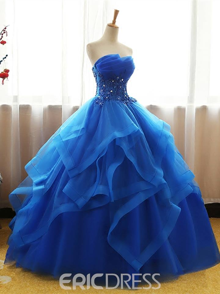 Strapless Applique Beaded Ball Quinceanera Gown