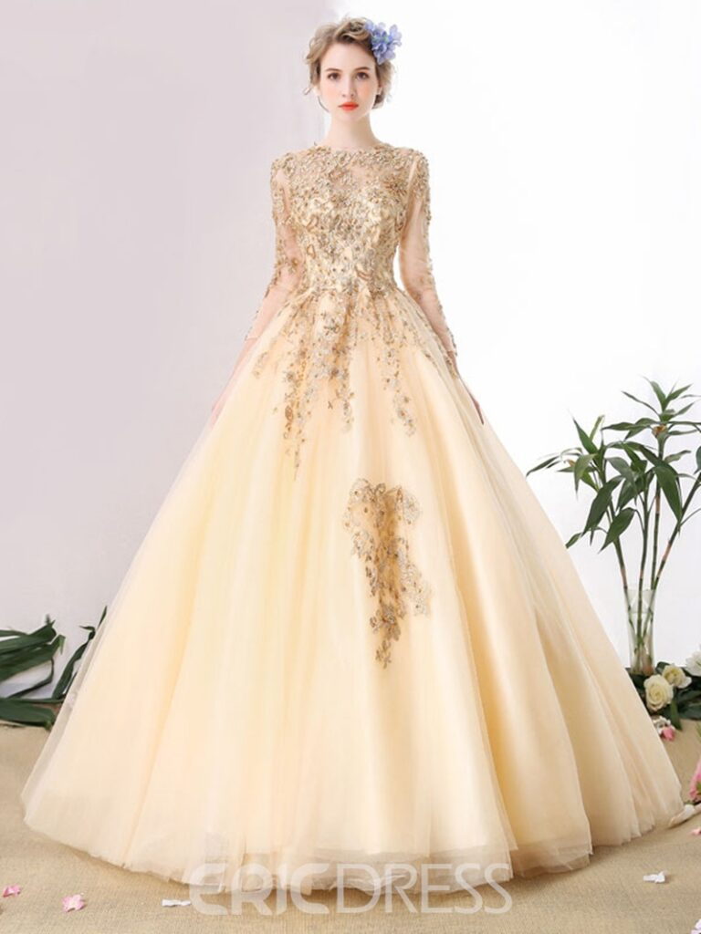 Jewel Neck Long Sleeves Lace Pearls Floor-Length Ball Gown Quinceanera Dress
