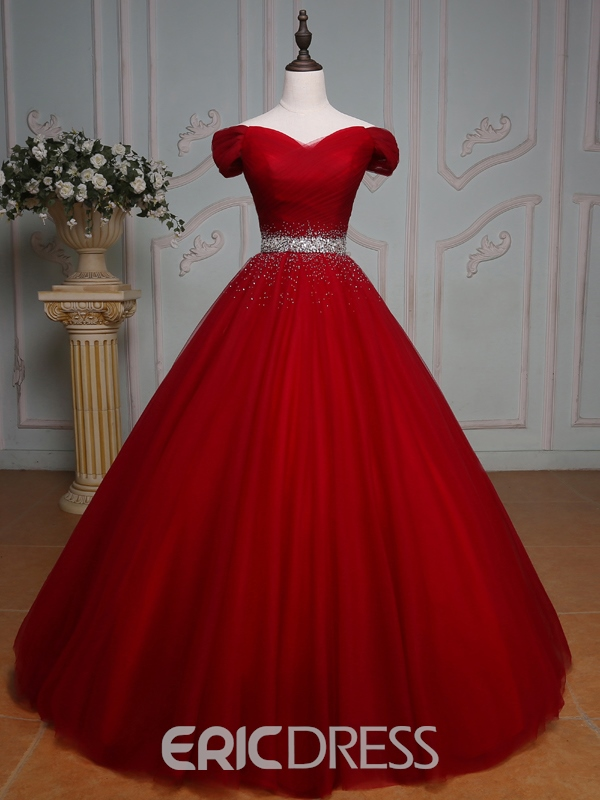 Off-the-Shoulder Ball Quinceanera Dress With Beading And Pleats